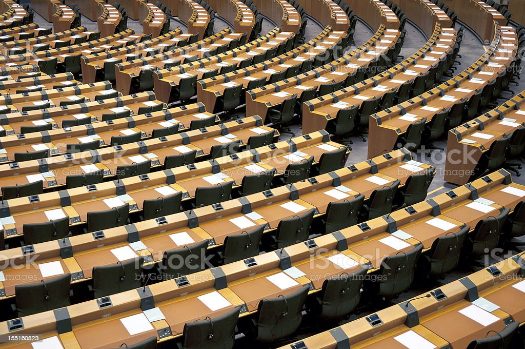 Empty Seats Assembly Room Brussels stock photo