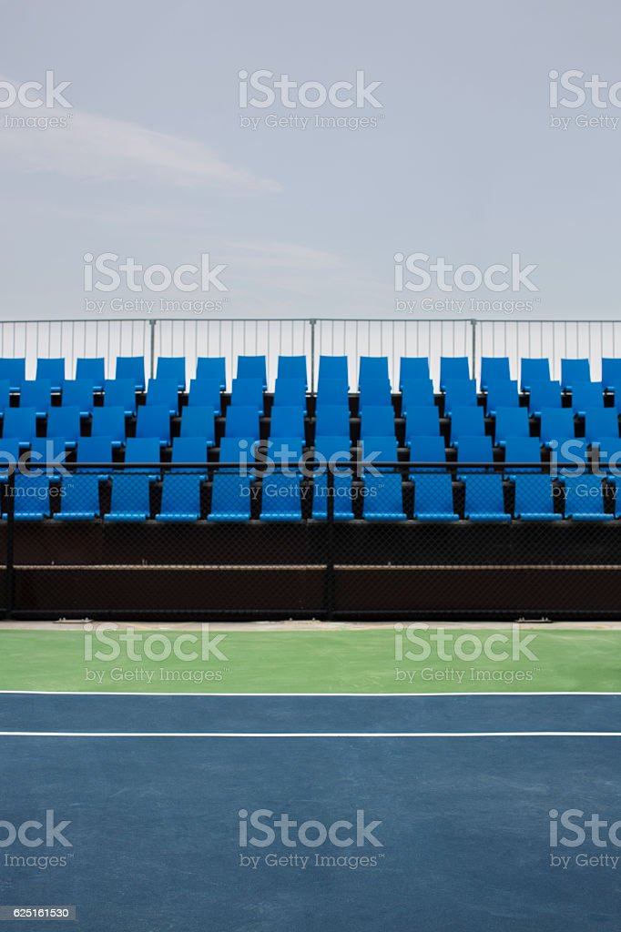 Empty Seats at Tennis Court stock photo
