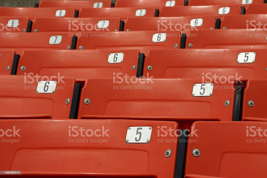 Empty seats in a baseball stadium (close-up) royalty-free stock photo