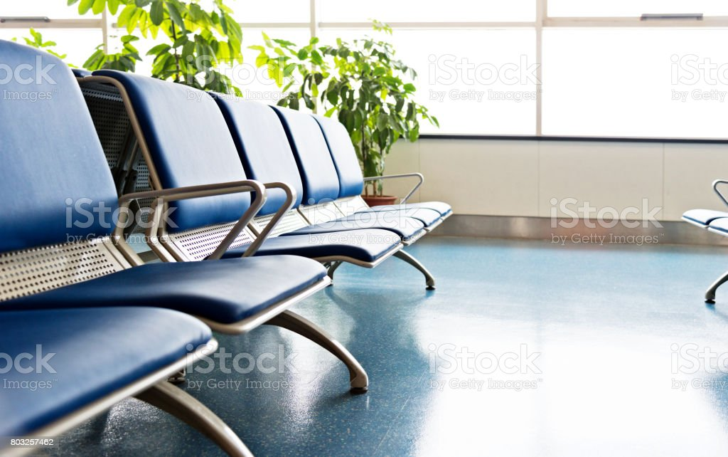 Empty seats in airport waiting room