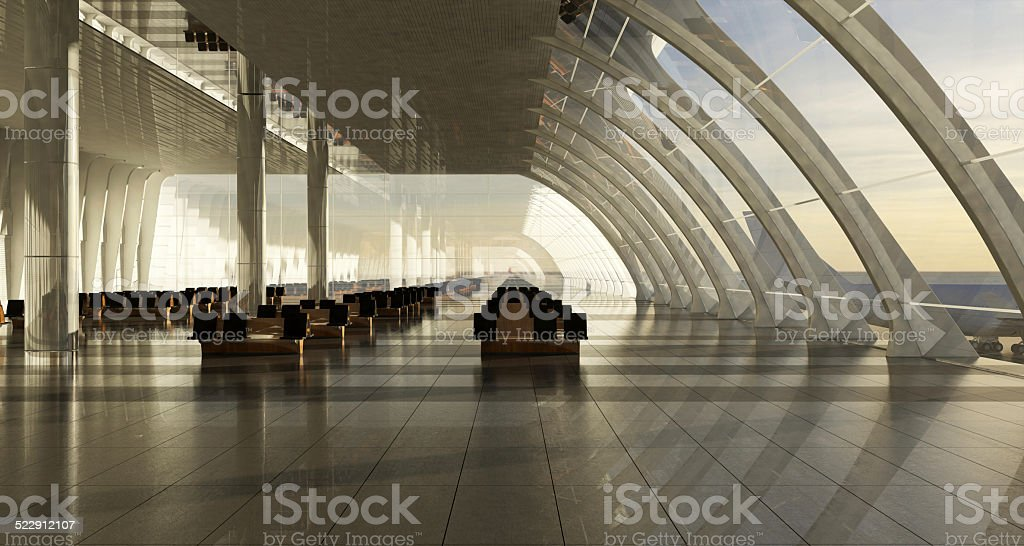 Empty seats in the departure lounge at the airport stock photo