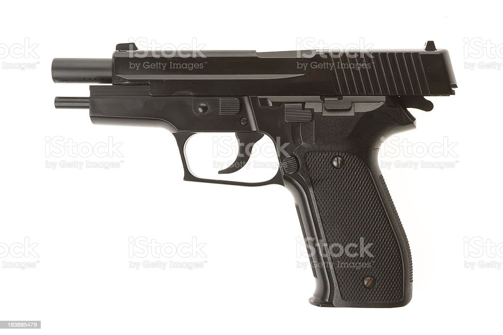 Empty semi-automatic gun isolated royalty-free stock photo