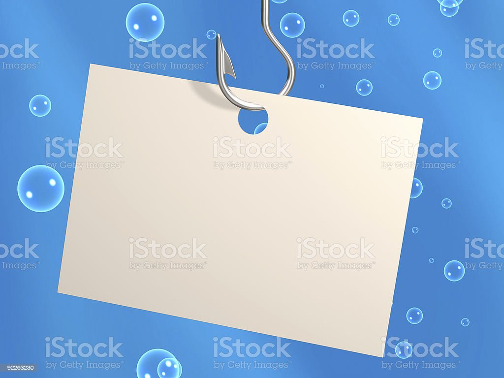 Empty sheet of paper, hanging on fishing hook royalty-free stock vector art