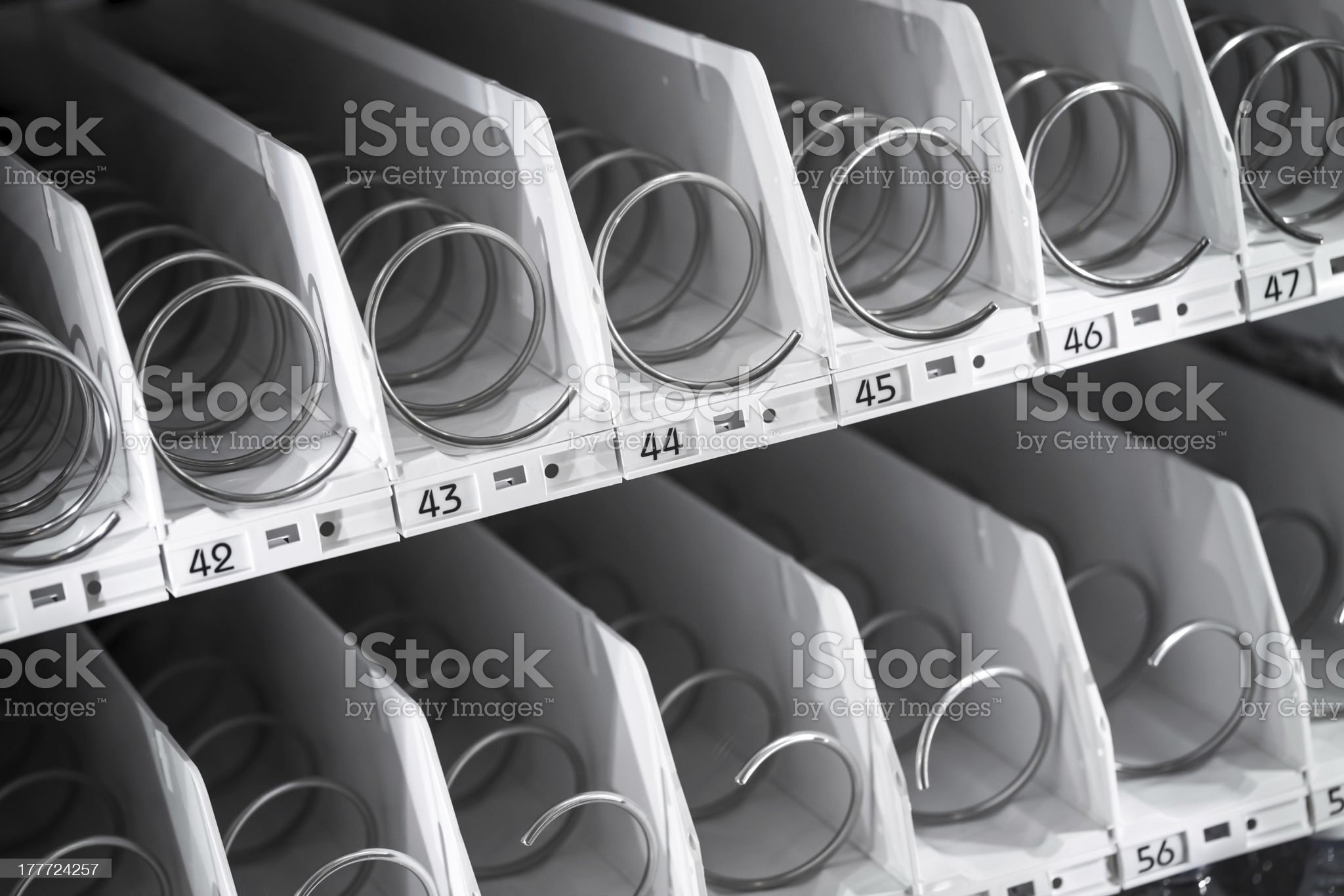 Empty shelf of office vending machine royalty-free stock photo