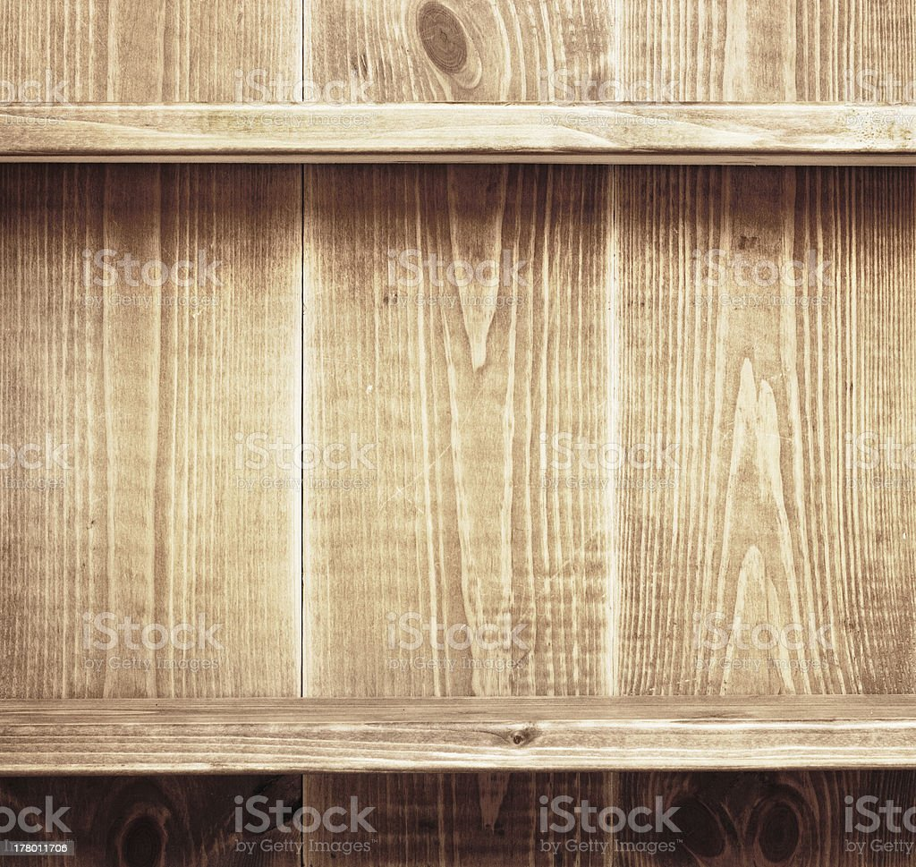 Empty shelf on wooden background. Wood texture. royalty-free stock photo