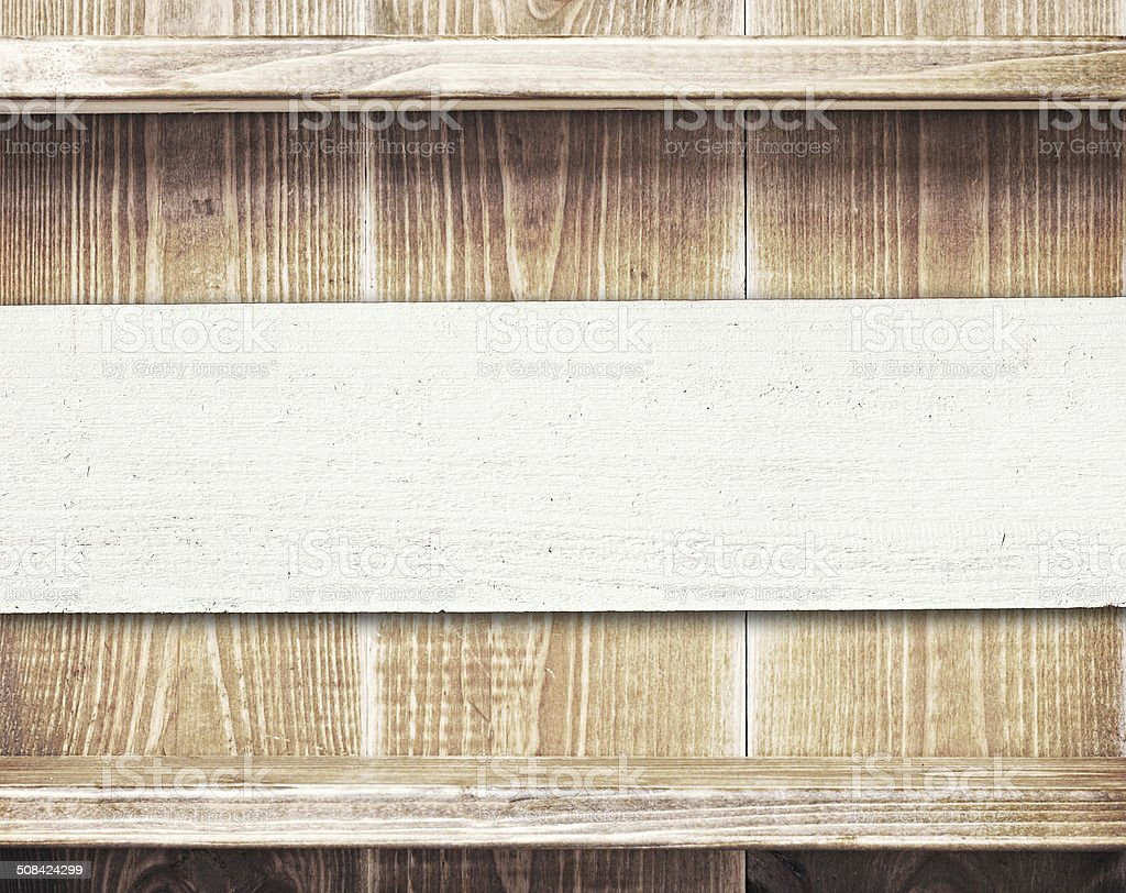 Empty shelfs on wooden wall with copy space stock photo