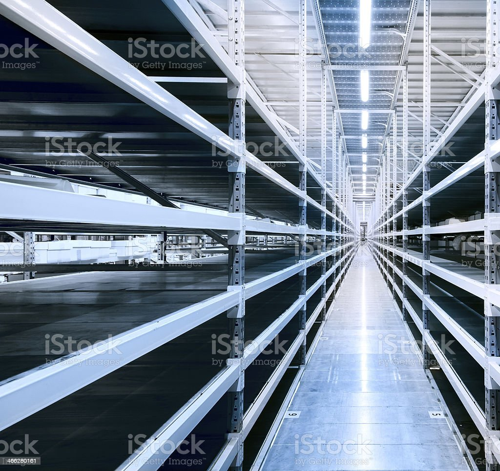 Empty shelves at a modern warehouse royalty-free stock photo