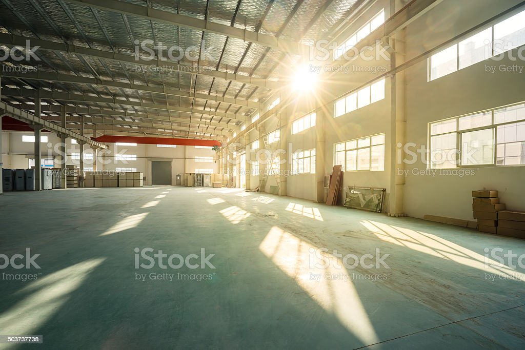 empty shop in factory stock photo
