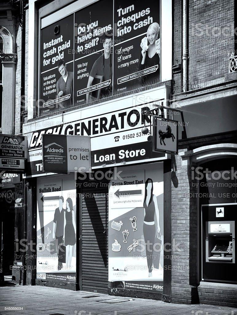 Empty shop in Lowestoft stock photo
