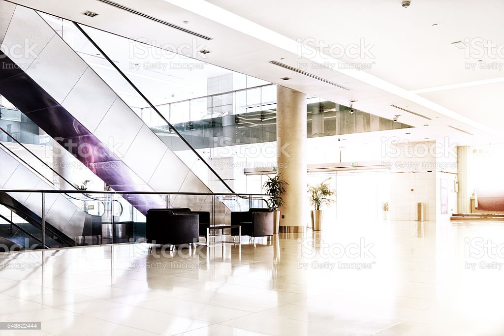 Empty shopping center in sunset, Dubai stock photo