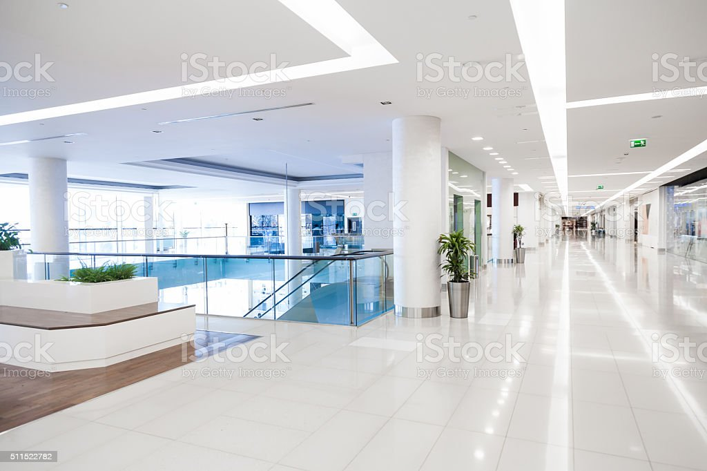 Empty shopping mall stock photo