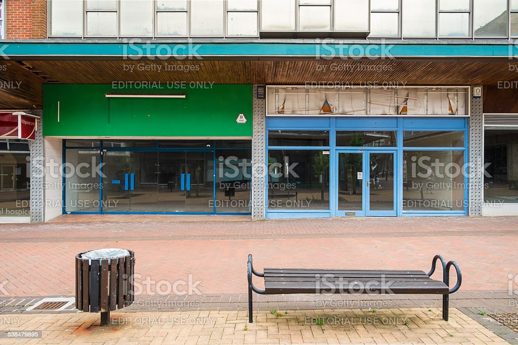 Empty shops in an abandoned high street stock photo