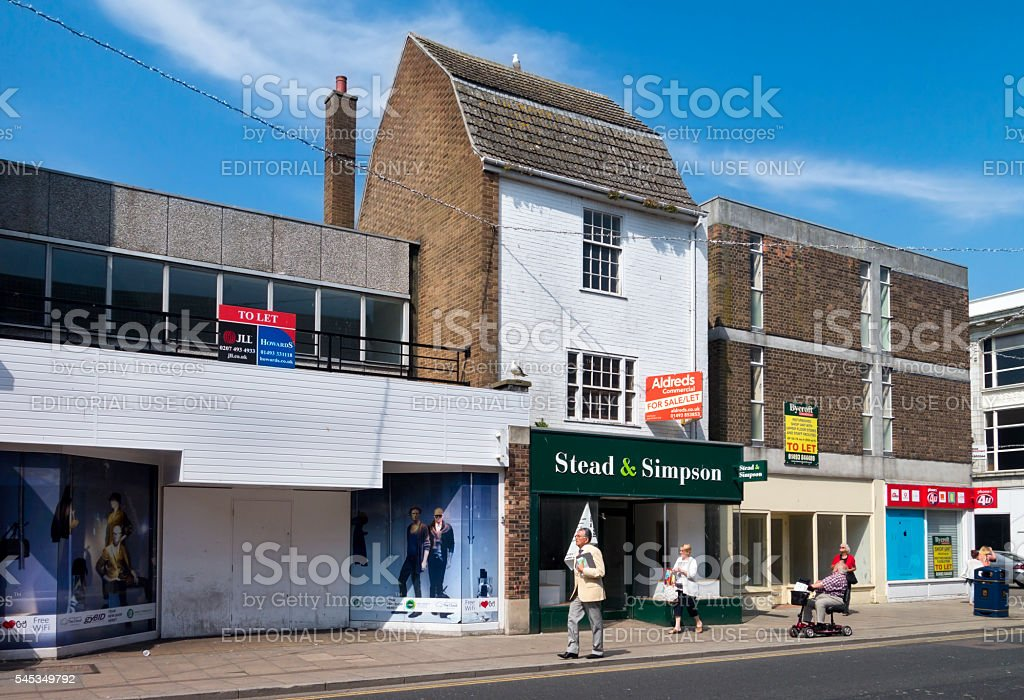 Empty shops in King Street, Great Yarmouth stock photo