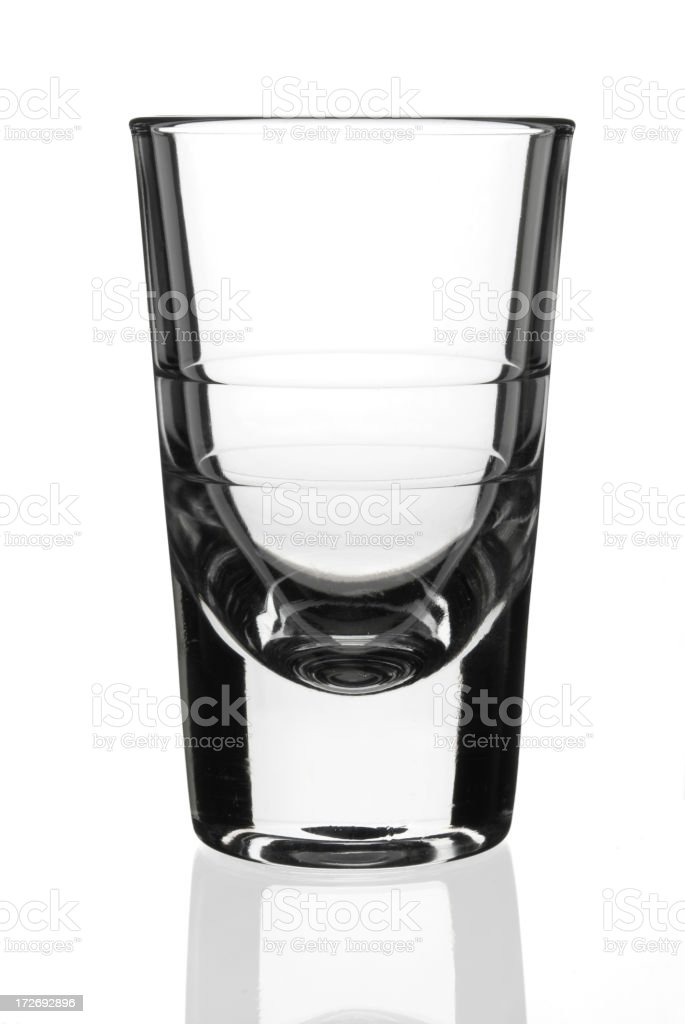Empty shot glass stock photo