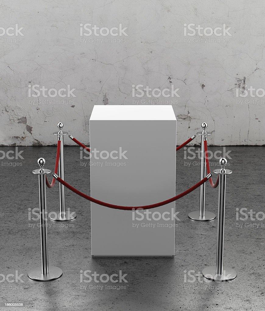 Empty showcase for exhibit. Plaster wall stock photo