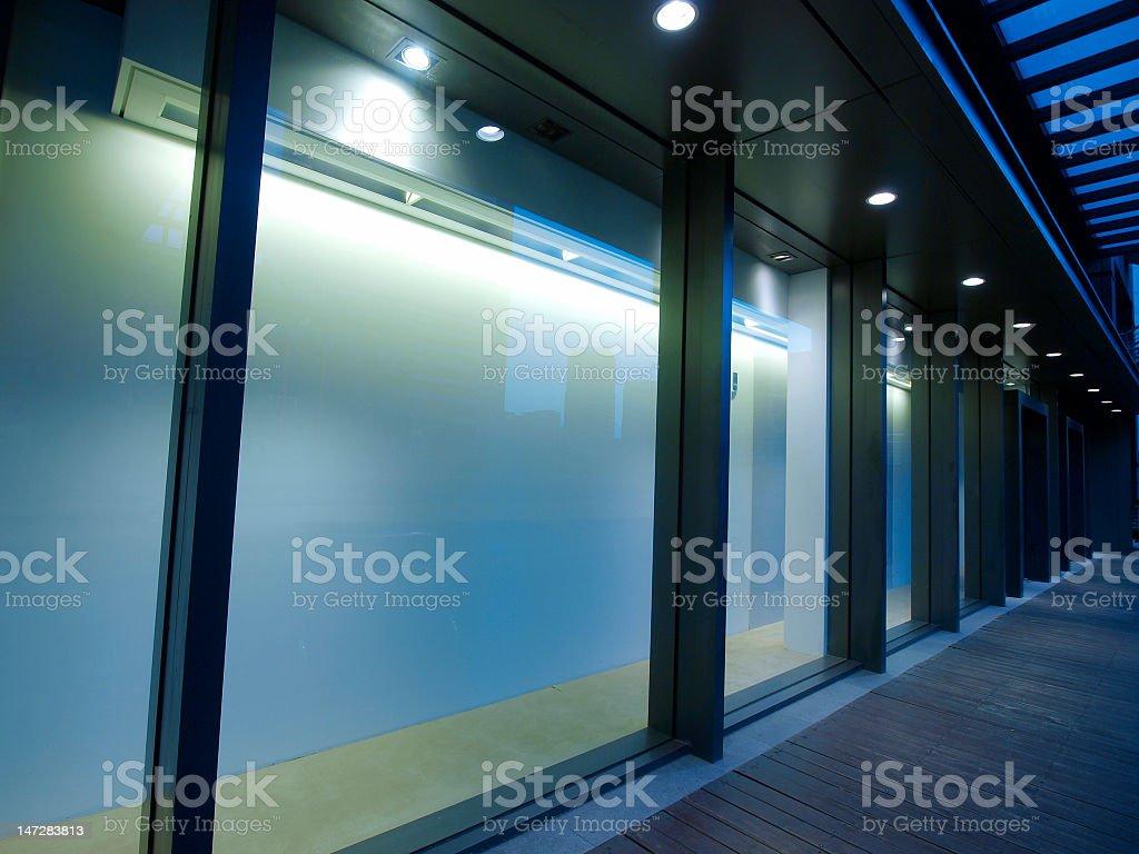 Empty showcase of department store stock photo
