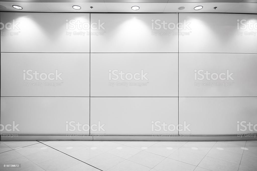 Empty showcase wall with lights stock photo