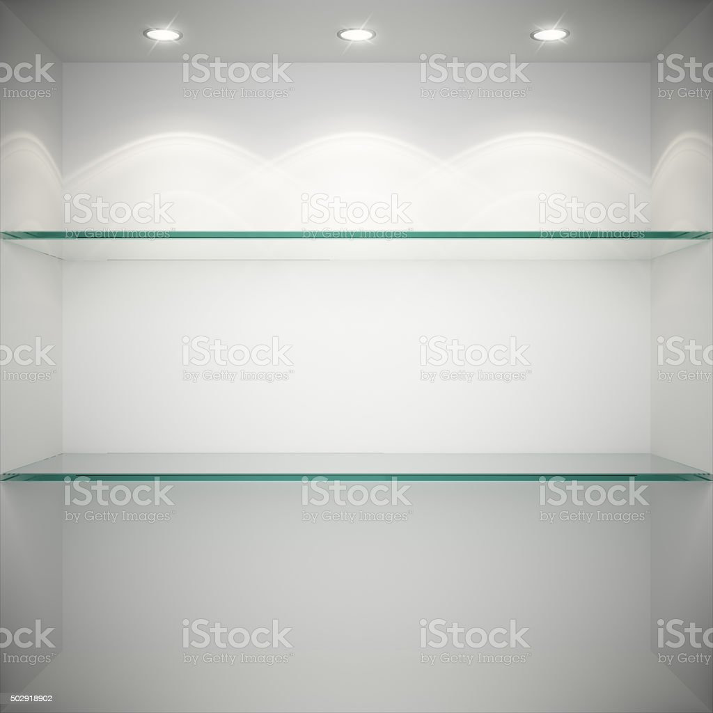 Empty showcase with glass shelves stock photo