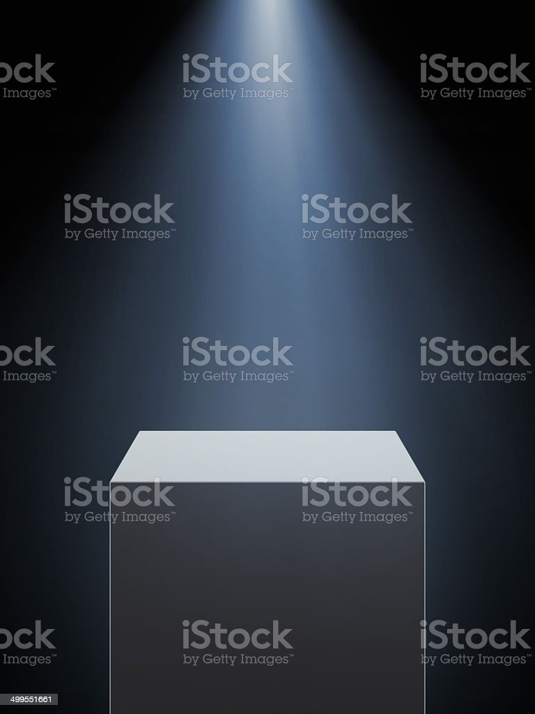 Empty showcase with spotlight stock photo