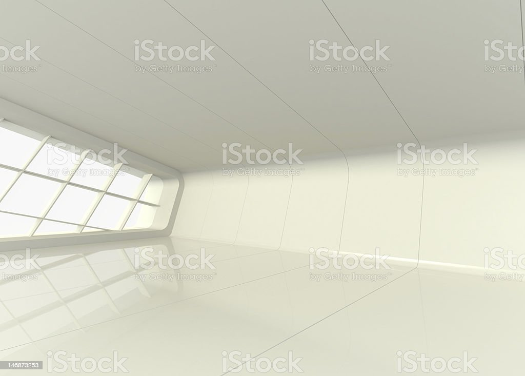 Empty showroom with white walls and windows royalty-free stock photo