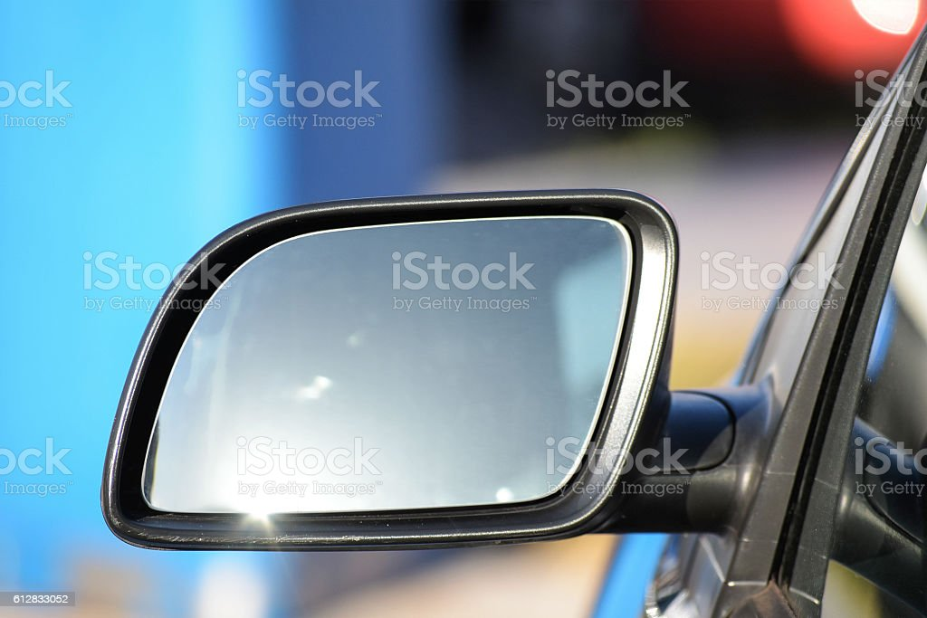 empty side rearview mirror on a car with copy space stock photo