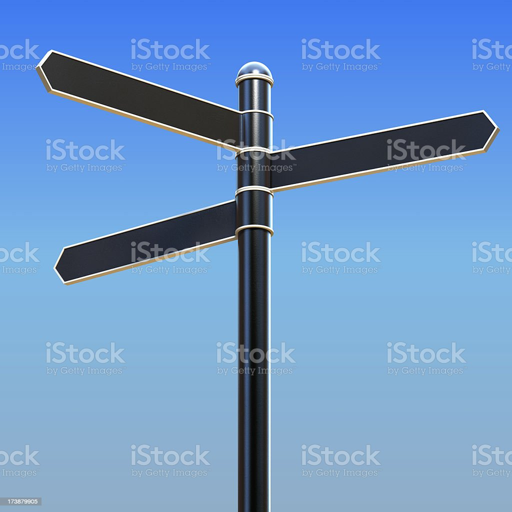Empty sign 3 directions royalty-free stock photo