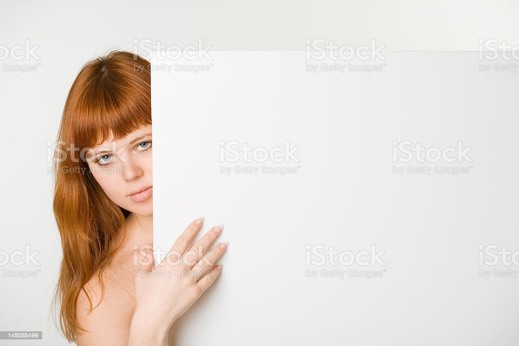 Empty sign and girl royalty-free stock photo