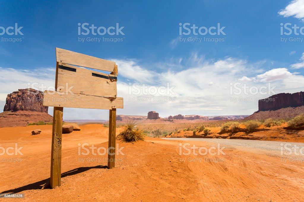 Empty sign on monument valley road stock photo