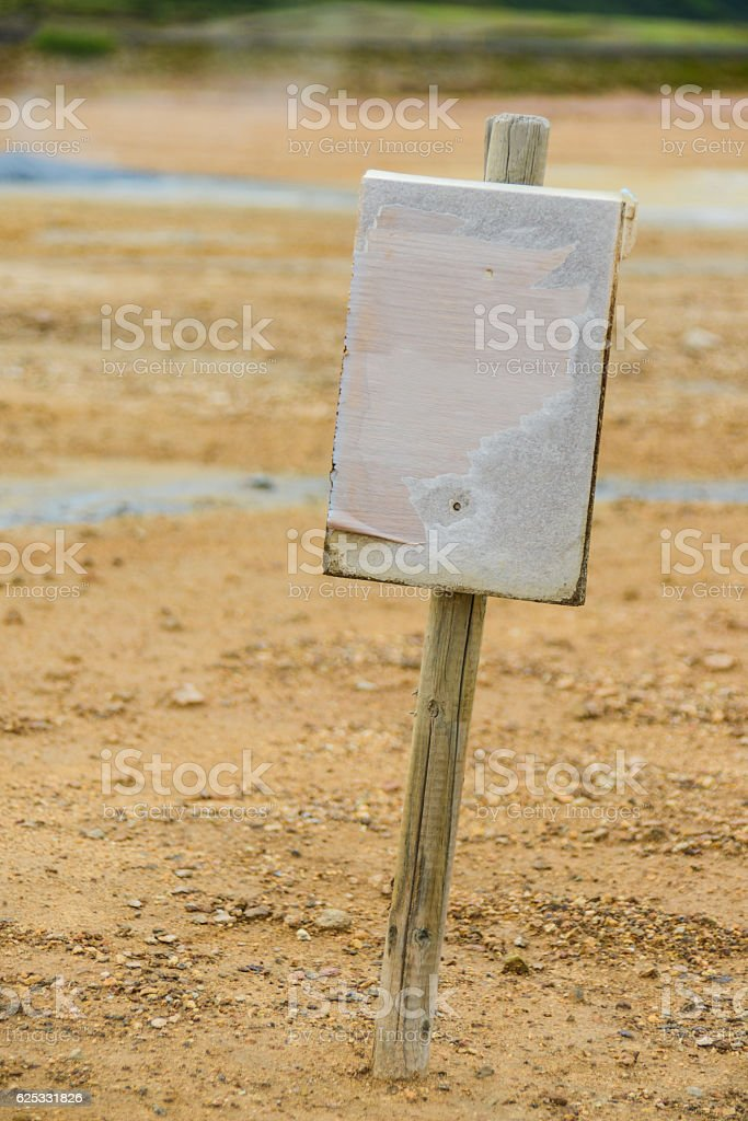 empty signpost in iceland sulfur field stock photo
