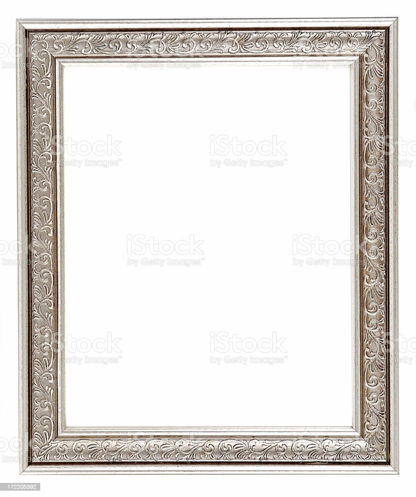 Empty silver antique picture frame stock photo