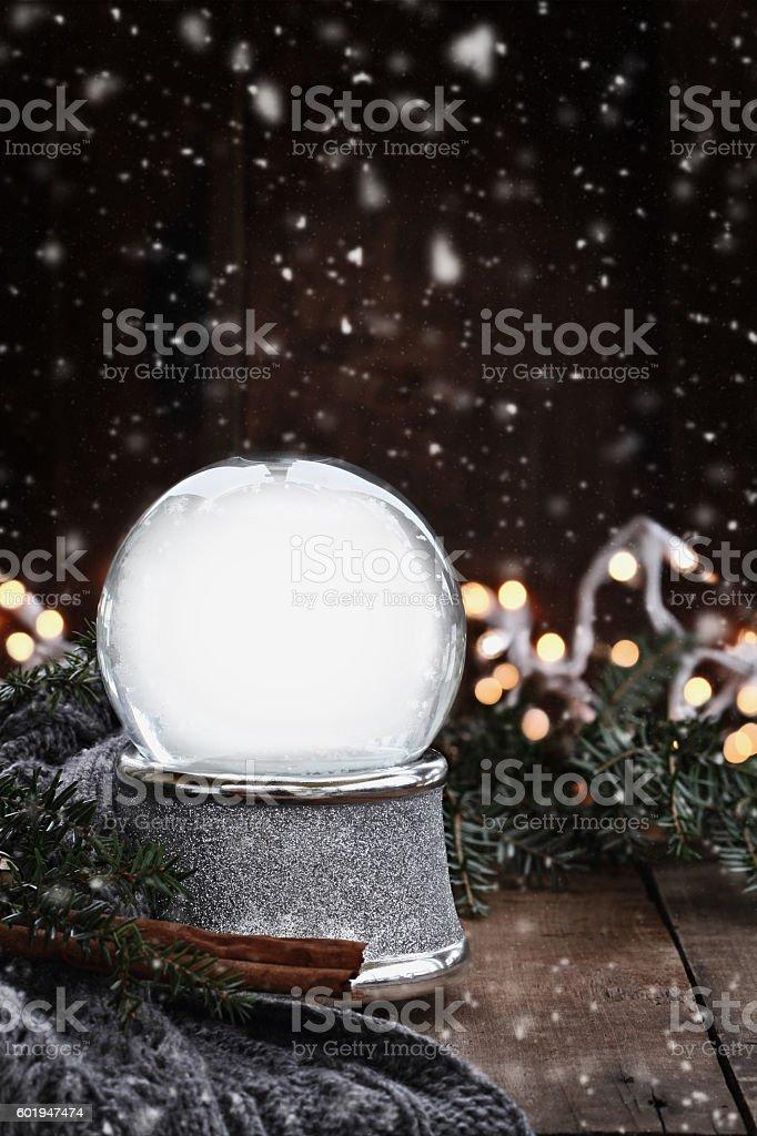 Empty Silver Snow Globe stock photo