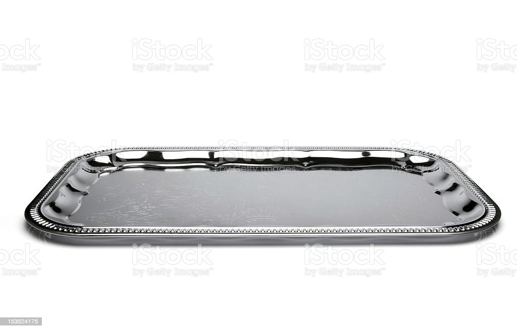 Empty silver tray isolated on white stock photo
