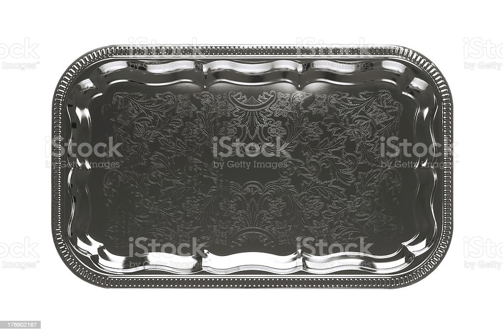 Empty silver tray with floral ornament isolated on white background stock photo