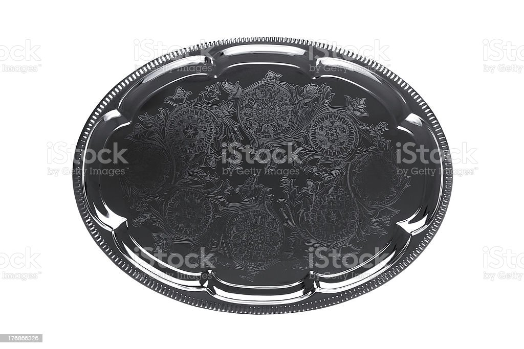 Empty silver tray with floral ornament stock photo