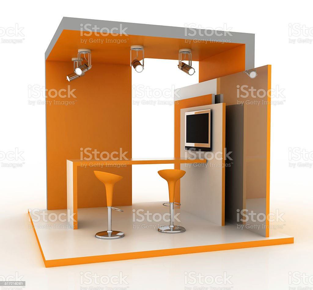 Empty single exhibition stand stock photo