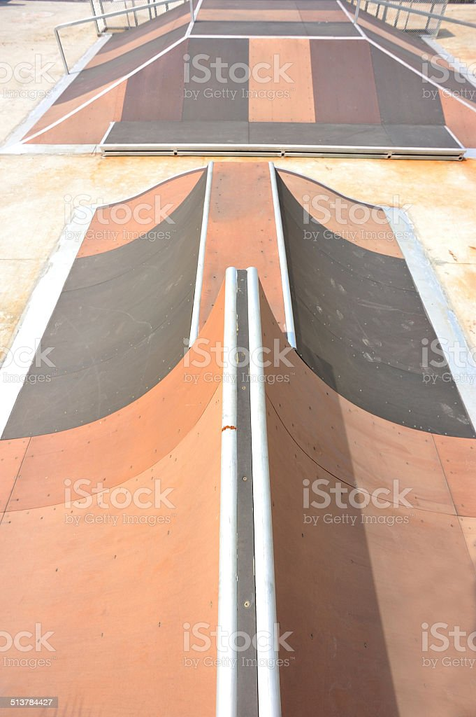 empty skatepark ramps stock photo