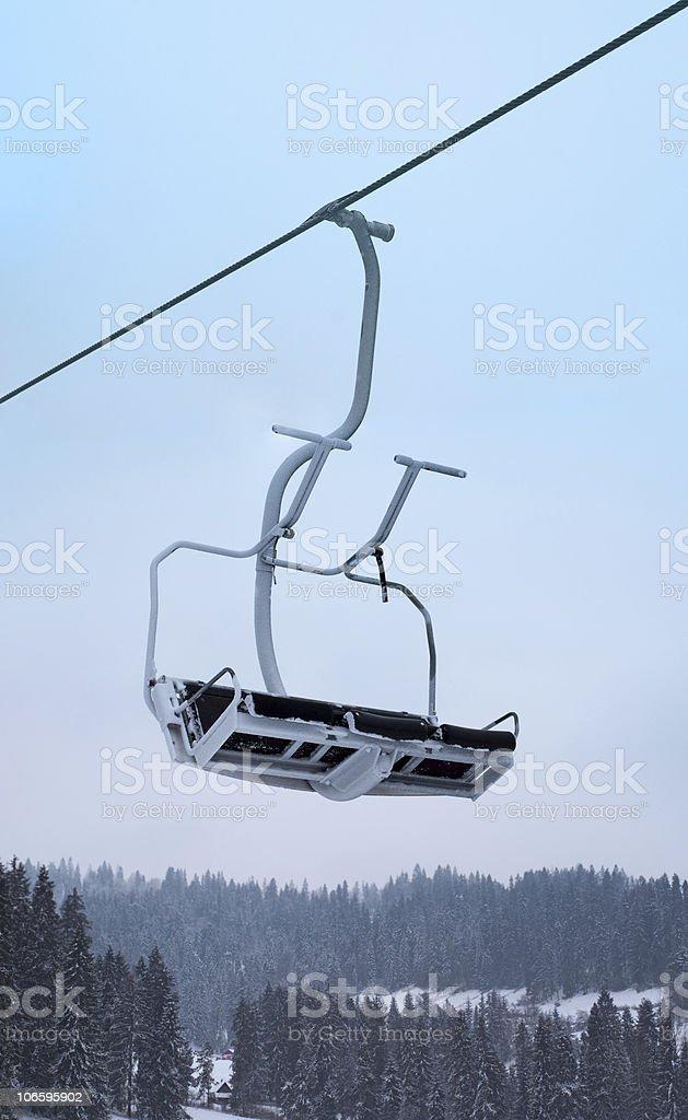 Empty ski lift royalty-free stock photo