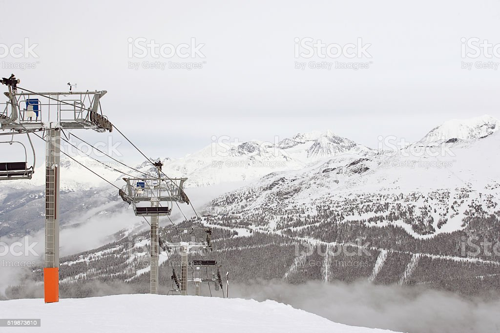 Empty ski lift stock photo