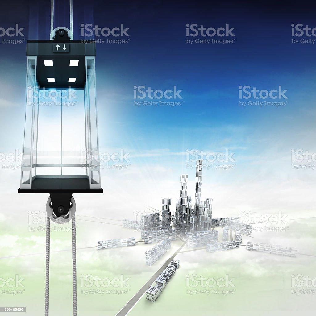 empty sky space elevator concept above city stock photo
