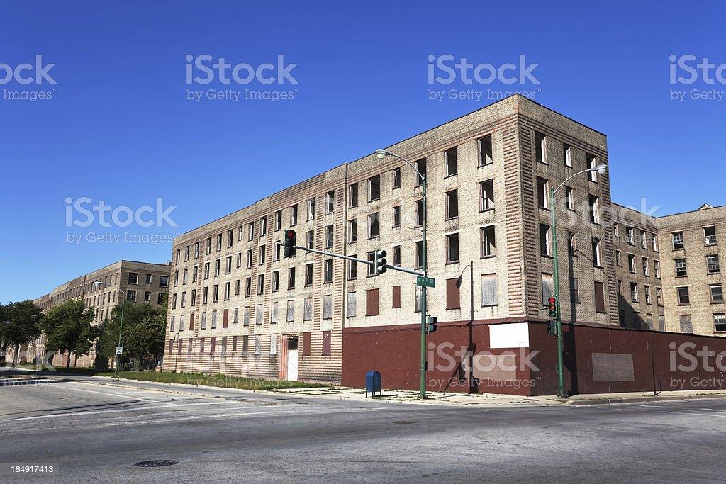 Empty Slum Housing in Chicago, South Side stock photo