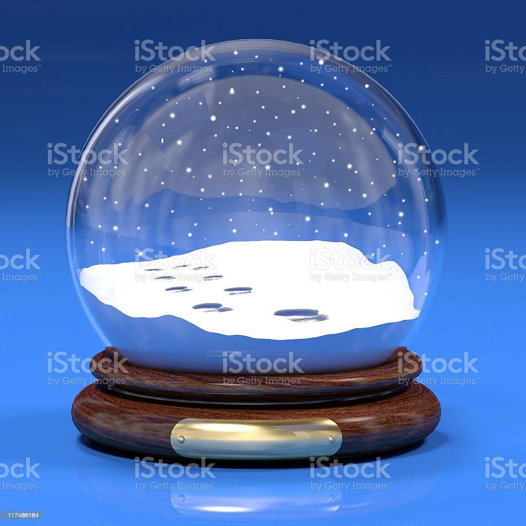 Empty snow globe on blue background stock photo