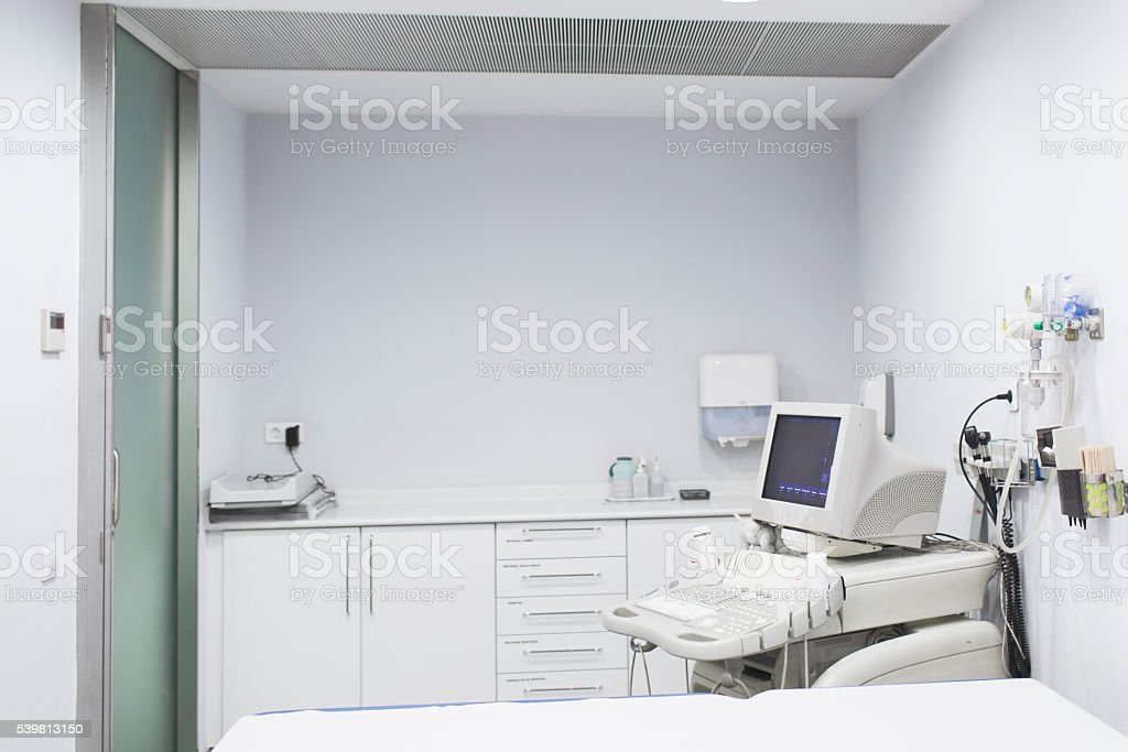 Empty sonogram room with ultrasound scan stock photo