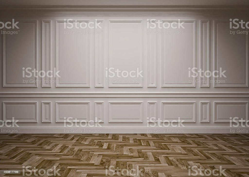 Empty space with mod styled walls and patterned wood floor stock photo