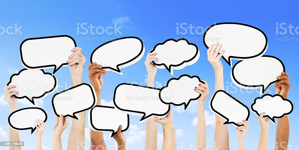 Empty Speech Bubbles Raised Outdoors stock photo