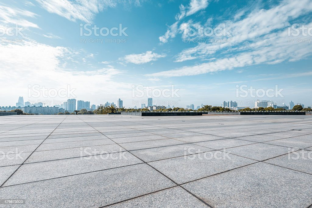 Empty square and floor with sky stock photo