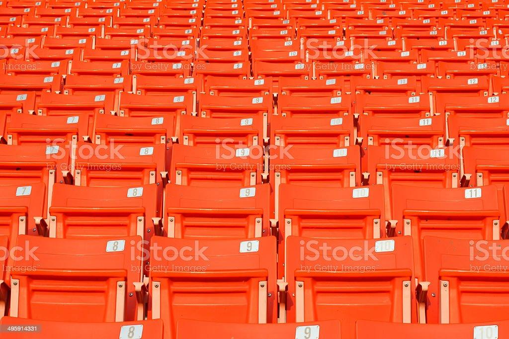 Empty stadium grandstands stock photo