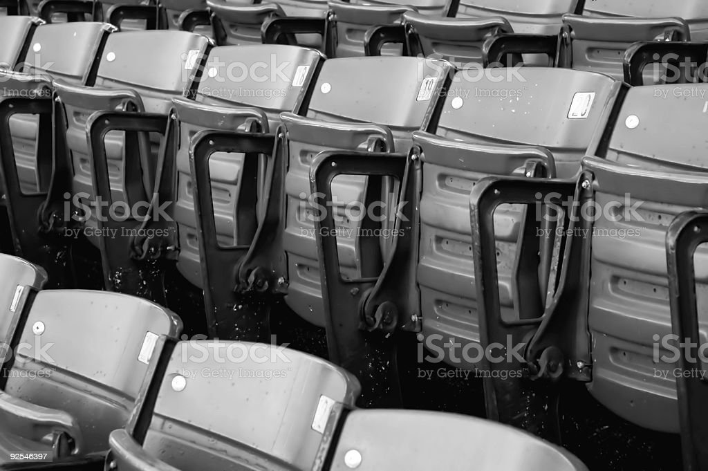 Empty Stadium Seating B/W stock photo