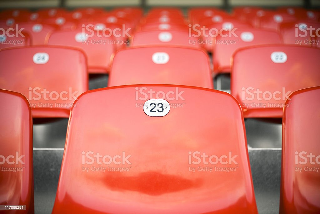 Empty stadium seats before a game royalty-free stock photo