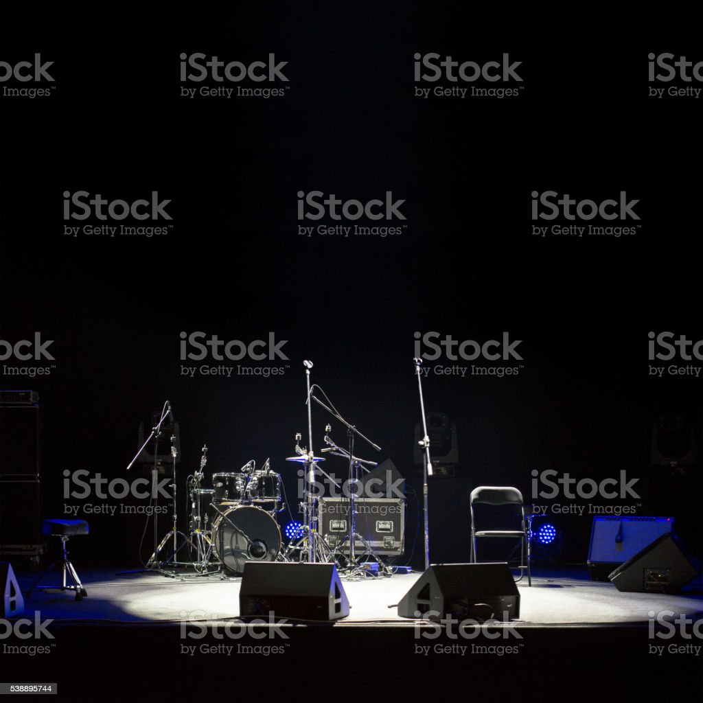Empty stage at concer stock photo