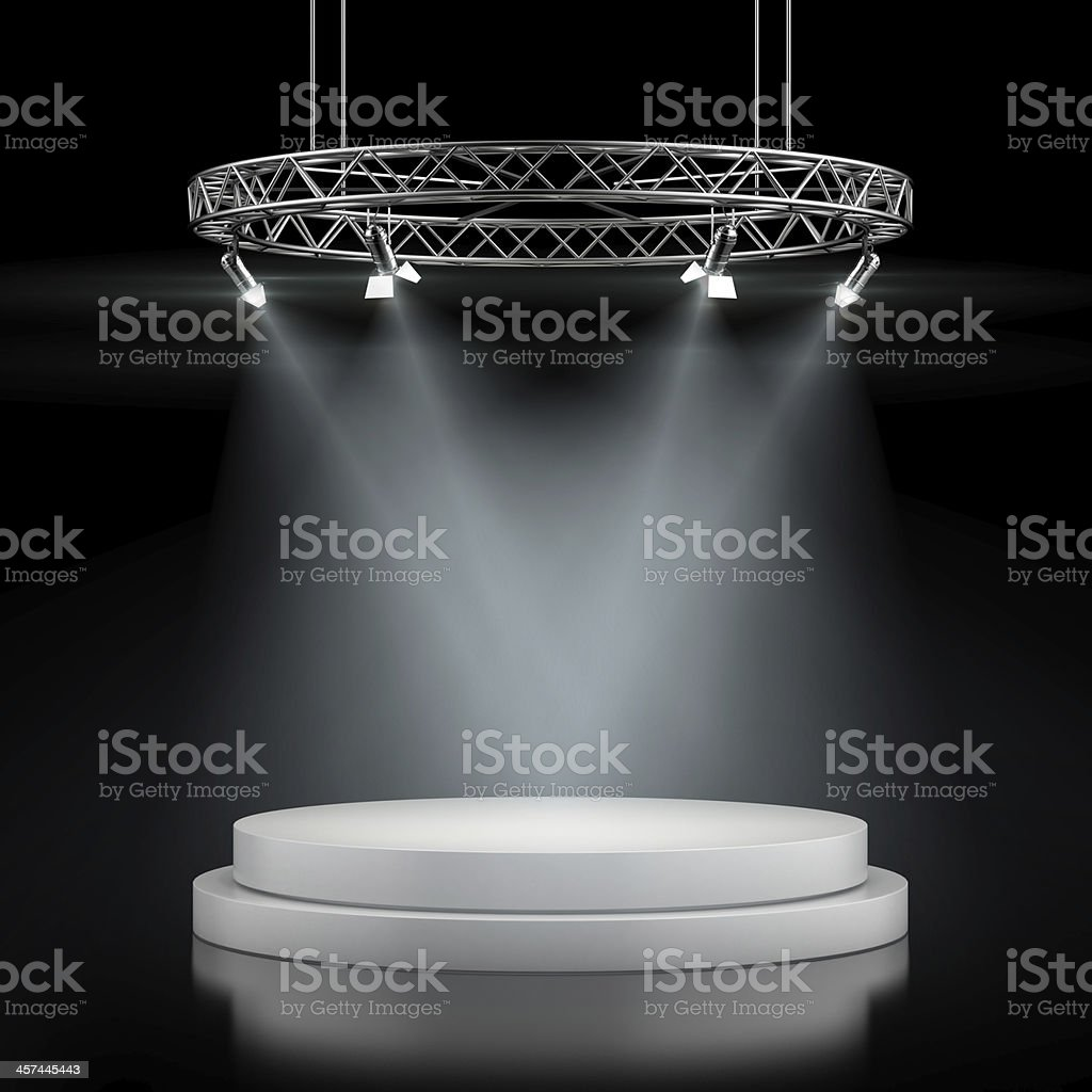 Empty stage in spot lights stock photo